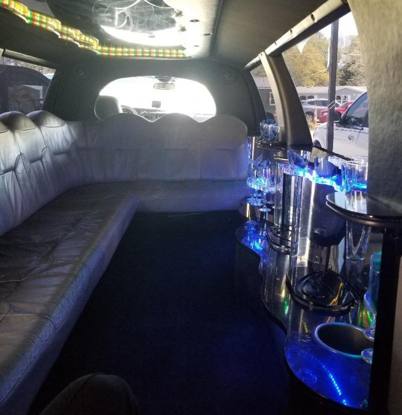 Spacious interior of stretch limo